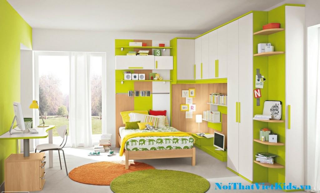 Noi that phong ngu xanh trang co be 1024x619 - 20 thiết kế phòng ngủ hiện đại nhất cho trẻ em