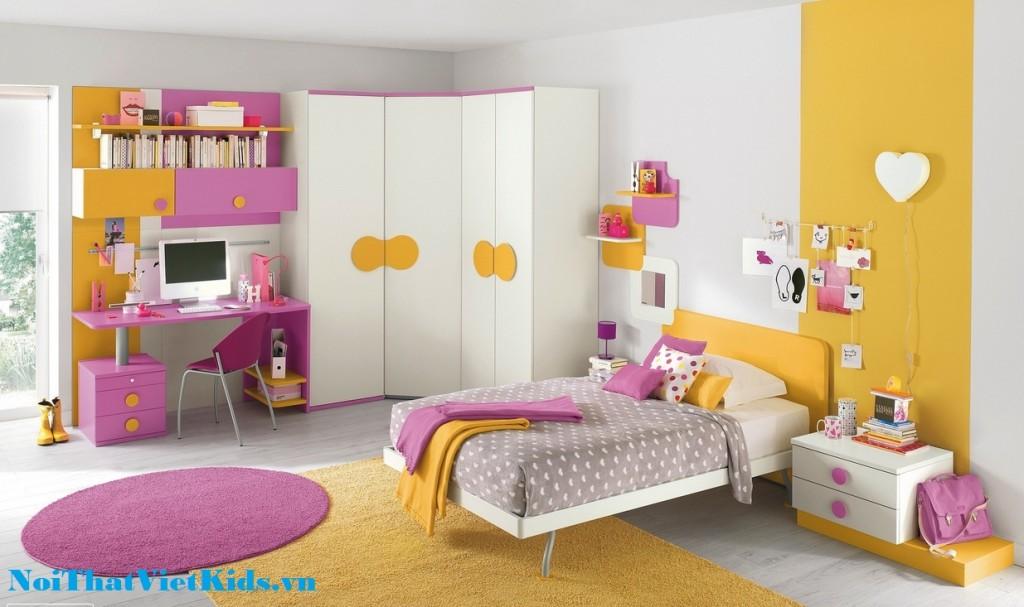 Phong ngu cho be gai mau hong vang cuc yeu 1024x607 - 20 thiết kế phòng ngủ hiện đại nhất cho trẻ em
