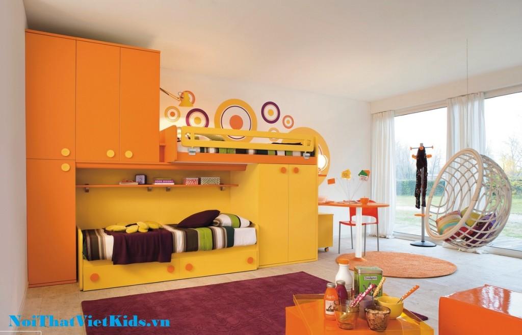 Phong ngu cho be thich mau vang cam 1024x657 - 20 thiết kế phòng ngủ hiện đại nhất cho trẻ em