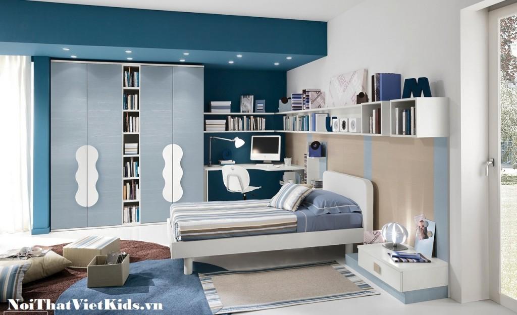 Phong ngu cho teen mau xanh 1024x624 - 20 thiết kế phòng ngủ hiện đại nhất cho trẻ em