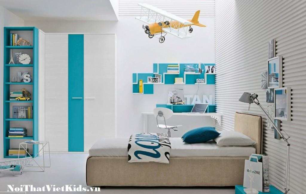 Phong ngu cho tre hien dai mau xanh trang 1024x650 - 20 thiết kế phòng ngủ hiện đại nhất cho trẻ em