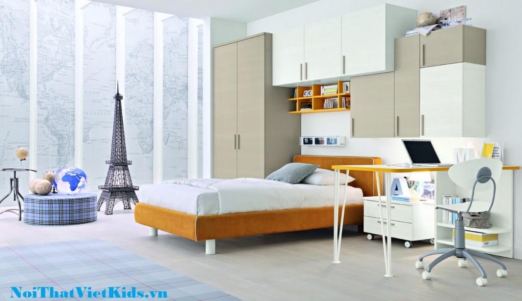 Phong ngu cho tre mau cam trang va xam tro cuc chat 1024x592 - 20 thiết kế phòng ngủ hiện đại nhất cho trẻ em