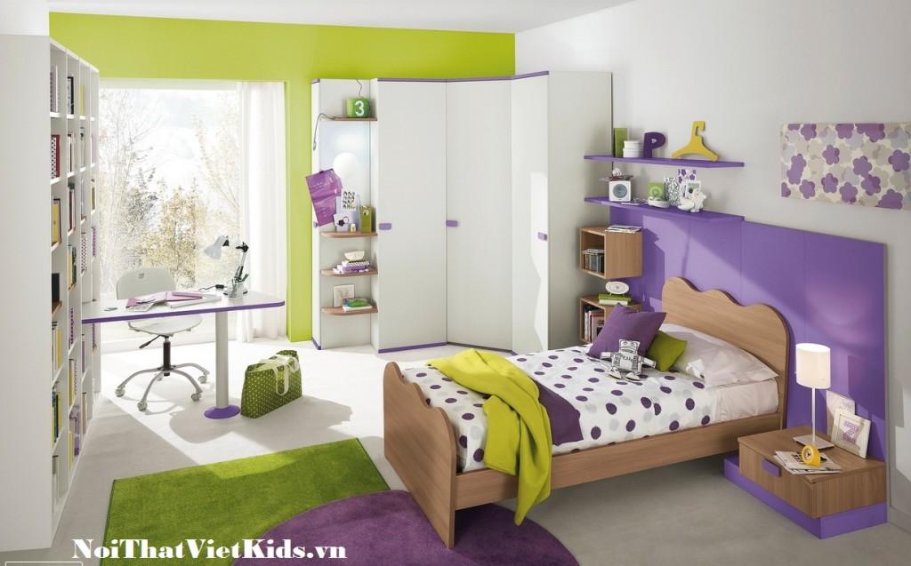 Phong ngu cho tre mau tim xanh 1024x637 - 20 thiết kế phòng ngủ hiện đại nhất cho trẻ em