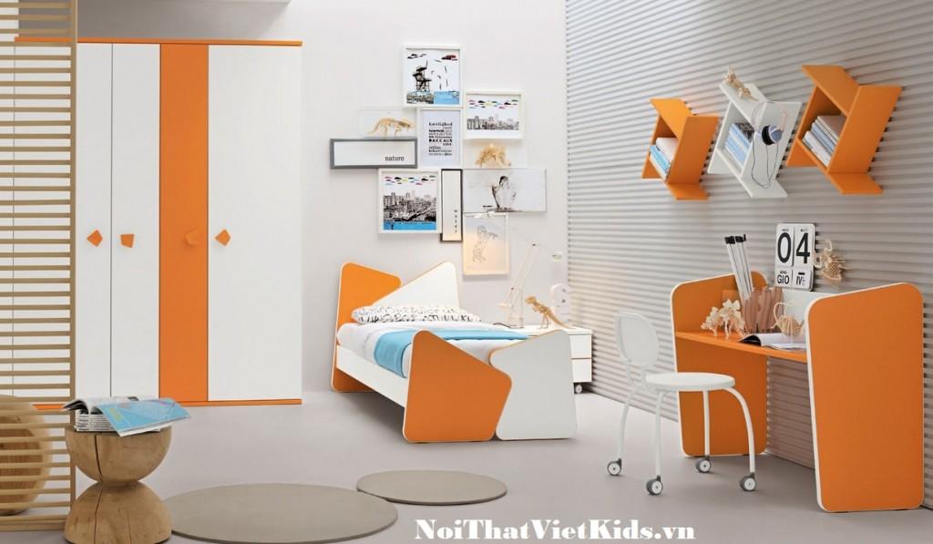 Phong ngu hien dai mau cam trang 1024x597 - 20 thiết kế phòng ngủ hiện đại nhất cho trẻ em