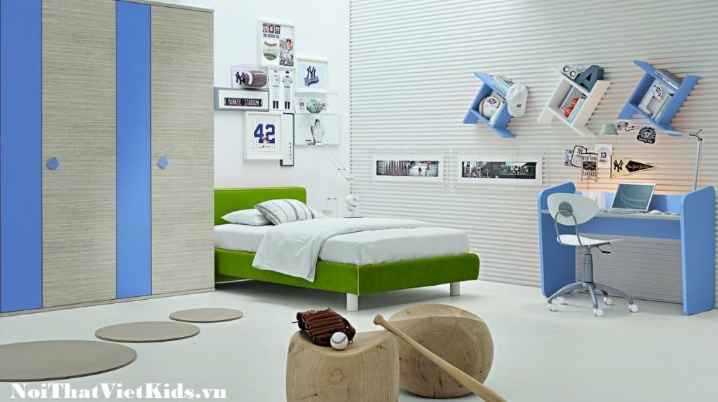Phong ngu xanh trang dep nhat 1024x574 - 20 thiết kế phòng ngủ hiện đại nhất cho trẻ em