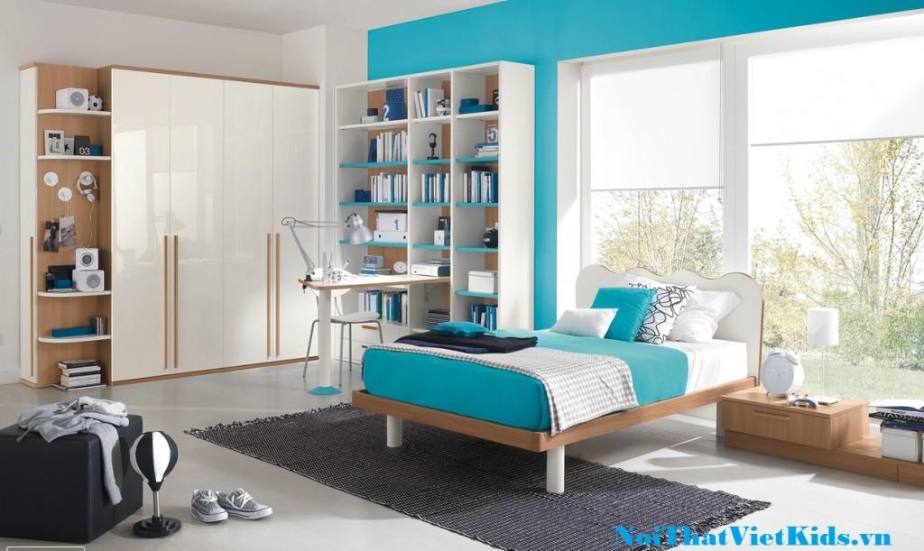 Thiet ke noi that phong ngu cho be mau xanh trang cuc dep 1024x611 - 20 thiết kế phòng ngủ hiện đại nhất cho trẻ em