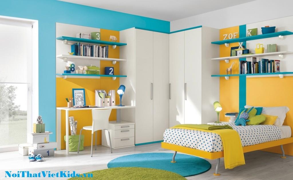 Thiet ke phong ngu vang xanh dang yeu 1024x630 - 20 thiết kế phòng ngủ hiện đại nhất cho trẻ em