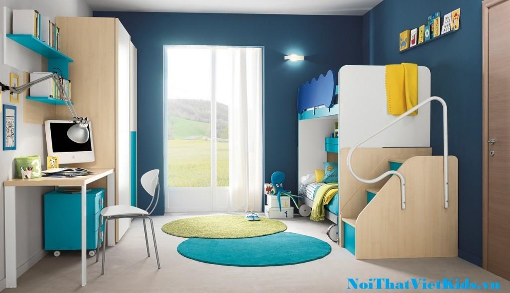 phong ngu xanh trang cho be 1024x589 - 20 thiết kế phòng ngủ hiện đại nhất cho trẻ em