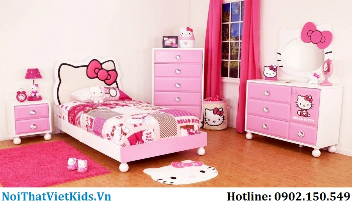 Phòng-ngủ-hello-kitty-cho- bé-gái