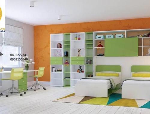 Bố trí nội thất cho hai bé hoặc ba bé trong một phòng.