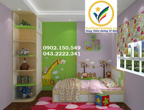 Thiết kế phòng ngủ trẻ em gỗ tự nhiên