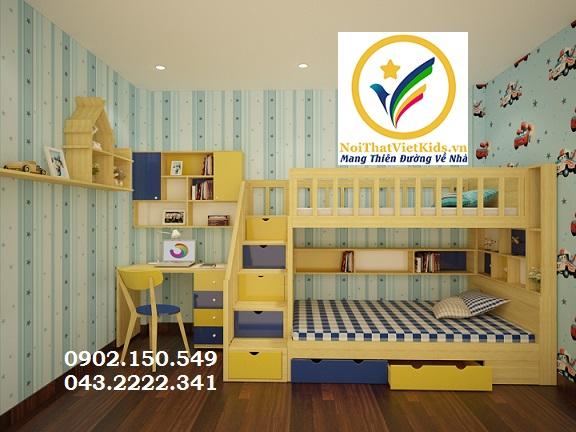 Đa dạng các kiểu giường tầng gỗ tự nhiên cho bé